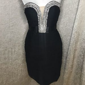 Jovani Black Plunging Illusion Cocktail Dress Sz 2